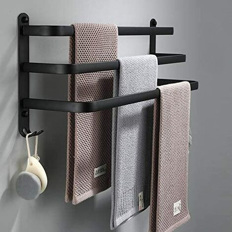 Bathroom Towel Bar, Black Wall Mounted Towel Bar for Shower and Kitchen, Waterproof Door Bars with Hook (50cm, Three Bars)