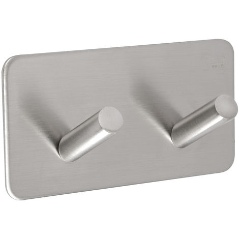 Bathroom Towel Hooks with Double Hook and Brushed Stainless Steel Finish