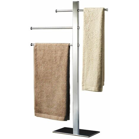 Bathroom Towel Rail Rack Holder Storage Freestanding Chrome Stainless Steel