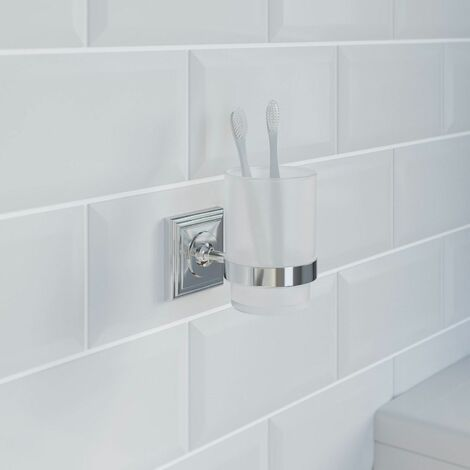 Bathroom Tumbler Holder Chrome Square Wall Mounted Stylish Traditional
