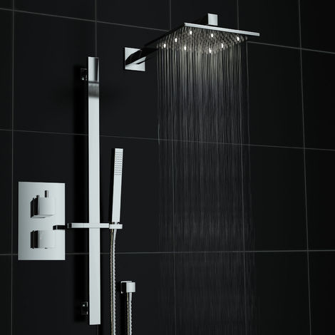Bathroom Twin With Diverter Thermostatic Mixer Shower Valve Tap Set White Led