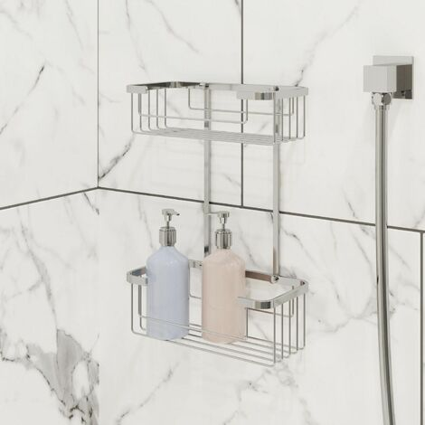 Bathroom Two Tier Shower Bath Caddy Chrome Slotted Modern Storage Tidy
