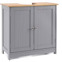 Bathroom Under Sink Cabinet Grey Bamboo Wooden Storage Cupboard Unit Christow