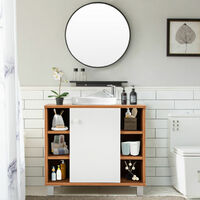 Bathroom Under Sink Storage Cabinet Basin Vanity Unit Cupboard W/ 6 Shelves UK