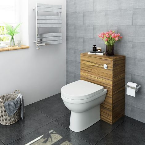 Bathroom Vanity Back to Wall Toilet WC Unit With Concealed Cistern - Walnut