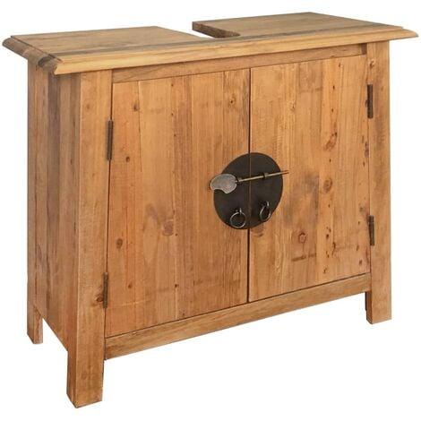 Bathroom Vanity Cabinet Solid Recycled Pinewood 70x32x63 cm - Brown