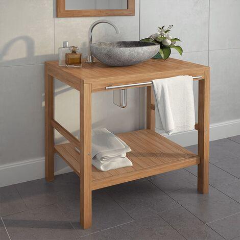 Bathroom Vanity Cabinet Solid Teak 74x45x75 cm