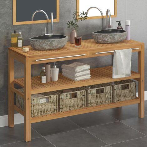Bathroom Vanity Cabinet Solid Teak with Riverstone Sinks - Brown