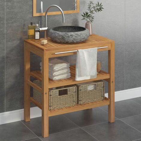 Bathroom Vanity Cabinet Solid Teak with Sink Marble Black