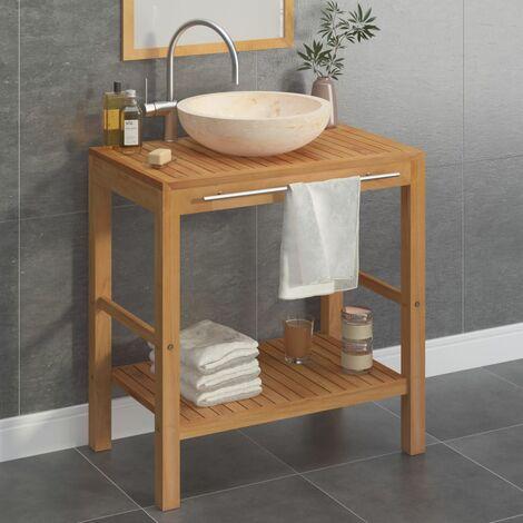 Bathroom Vanity Cabinet Solid Teak with Sink Marble Cream