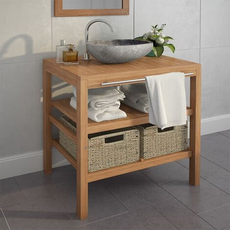 Bathroom Vanity Cabinet with 2 Baskets Solid Teak 74x45x75 cm