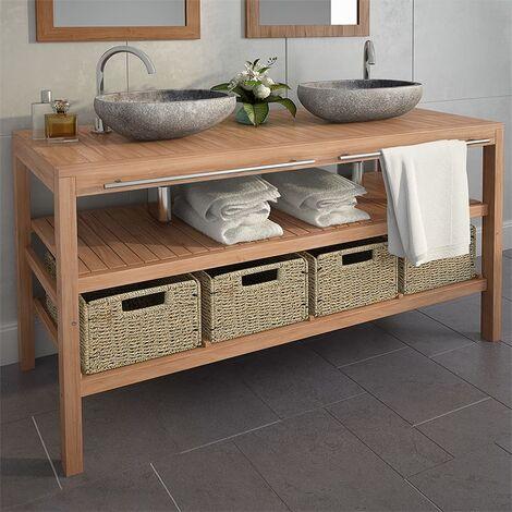 Bathroom Vanity Cabinet with 4 Baskets Solid Teak 132x45x75 cm - Brown