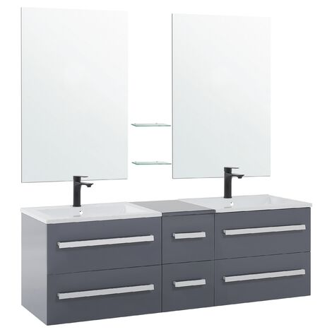 Bathroom Vanity Set Grey MADRID