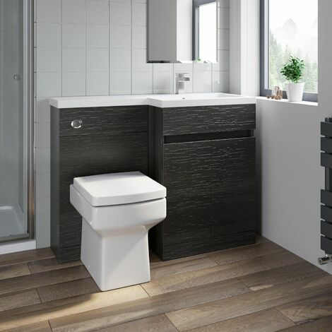 Bathroom Vanity Unit Basin 1100 mm Toilet Combined Furniture Right Hand Charcoal