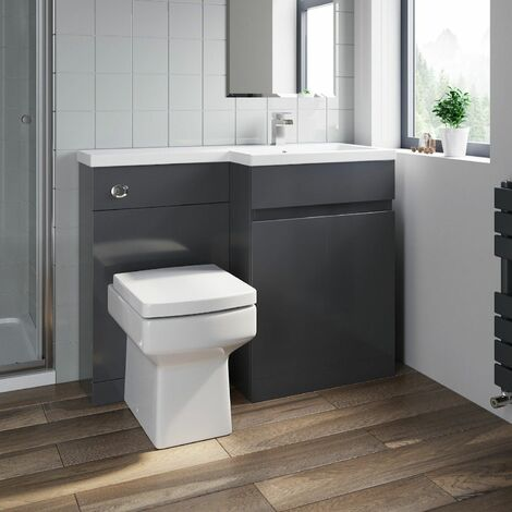 Bathroom Vanity Unit Basin 1100 mm Toilet Combined Furniture Right Hand RH Grey