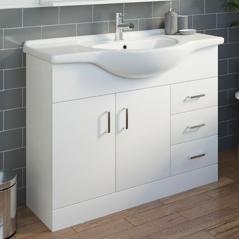 Bathroom Vanity Unit Basin Gloss White Floorstanding Tap + Waste