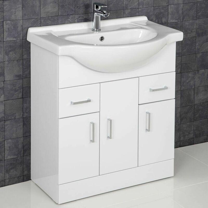Bathroom Vanity Unit Basin Tap + Waste Gloss White Floorstanding    ESSENCESET22