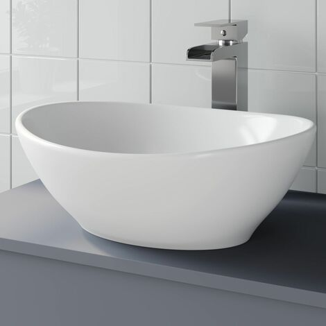 Awe Inspiring Bathroom Vanity Wash Basin Sink Countertop Oval Curved White Modern 410 X 330Mm Download Free Architecture Designs Viewormadebymaigaardcom