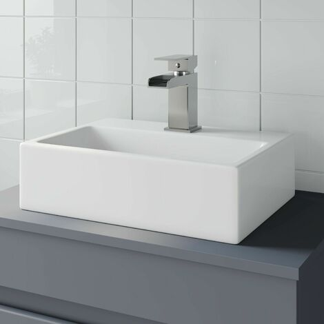 Bathroom Vanity Wash Basin Sink Countertop Rectangular 1 TH Modern 400 x 300mm