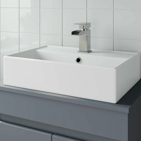 Bathroom Vanity Wash Basin Sink Countertop Rectangular 1 TH Modern 505 x 350mm