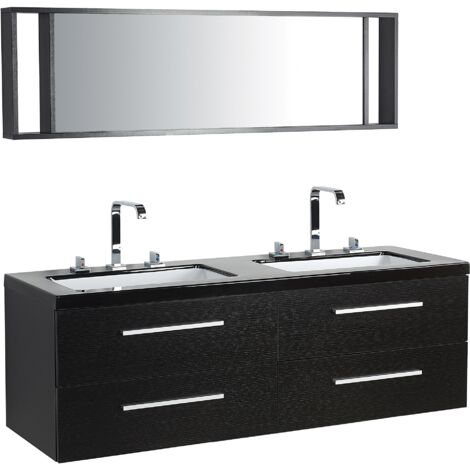 Bathroom Vanity With 4 Drawers, Double Sink and Mirror - MALAGA Black
