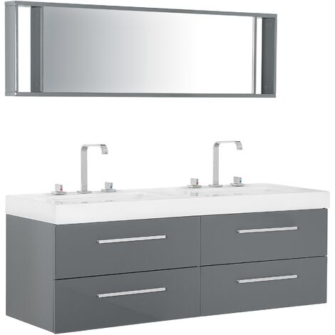 Bathroom Vanity with Double Sink 4 Drawers and Mirror Grey MALAGA
