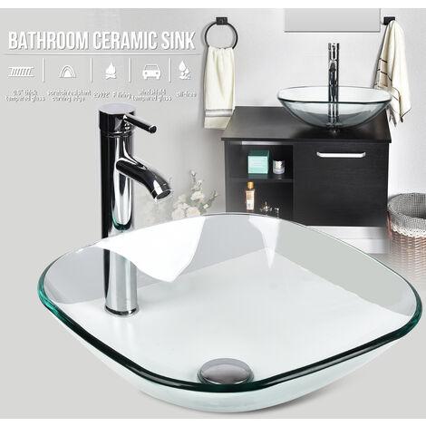 Bathroom Vessel Sink Faucet Pop-up Drain Bath Accessory Set Combo Square