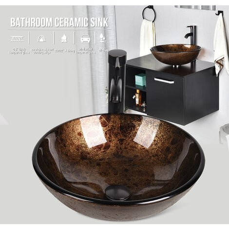 Bathroom Vessel Sink with Faucet Mounting Ring and Pop Up Drain Round Bowl Basin