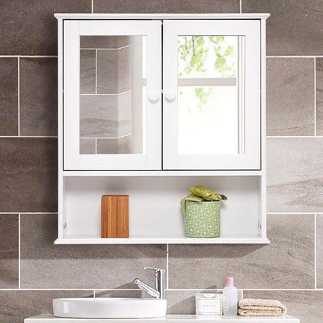 Bathroom Wall Cabinet Double Mirror Door Wooden White Shelf Bath Storage New