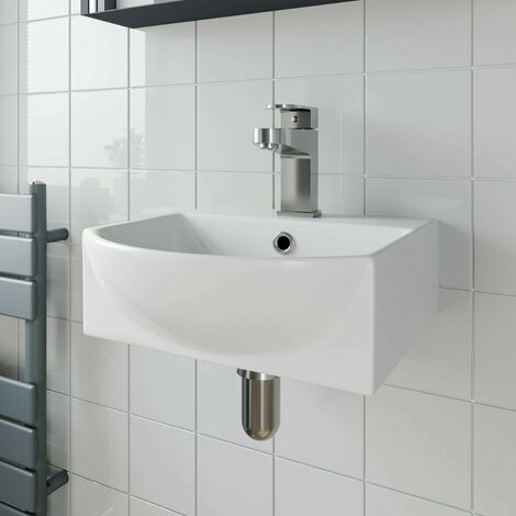 Bathroom Wall Hung Basin Hand Wash Sink 1 Tap Hole White Gloss Cloakroom Modern