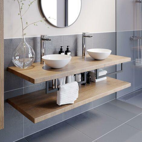 "main image of ""Bathroom Wall Hung Floating Shelf Wash Basin Sink Towel Rail Storage Beige 1100"""