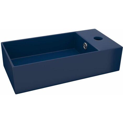 Bathroom Wall Hung Sink with Overflow Ceramic Dark Blue