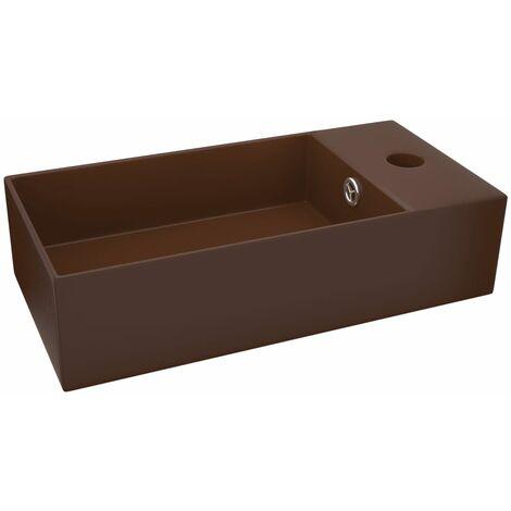 Bathroom Wall Hung Sink with Overflow Ceramic Dark Brown