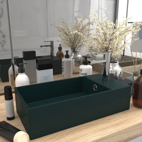 Bathroom Wall Hung Sink with Overflow Ceramic Dark Green