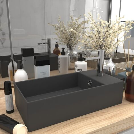 Bathroom Wall Hung Sink with Overflow Ceramic Dark Grey