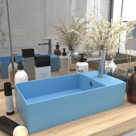Bathroom Wall Hung Sink with Overflow Ceramic Light Blue
