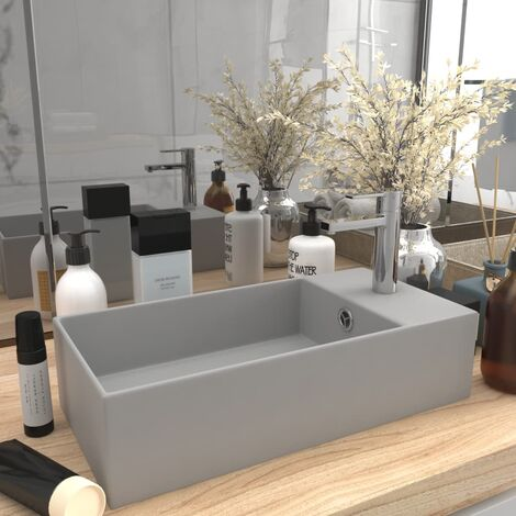 Bathroom Wall Hung Sink with Overflow Ceramic Light Grey