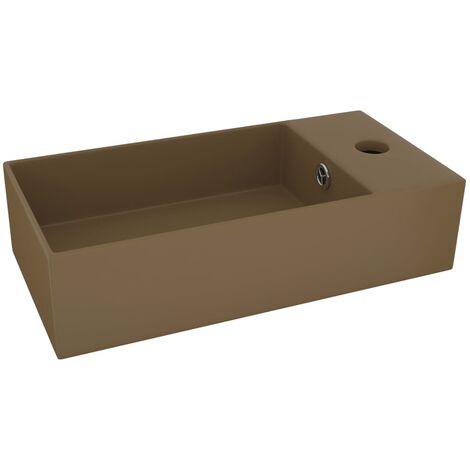 Bathroom Wall Hung Sink with Overflow Ceramic Matt Cream