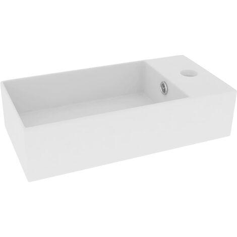 Bathroom Wall Hung Sink with Overflow Ceramic Matt White