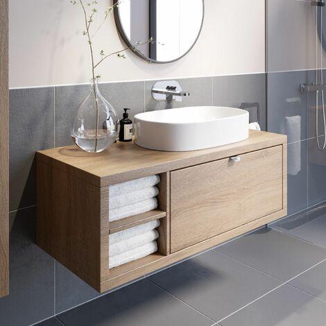 "main image of ""Bathroom Wall Hung Vanity Unit Sink Cabinet Wash Basin Sink Storage Drawer 1100"""