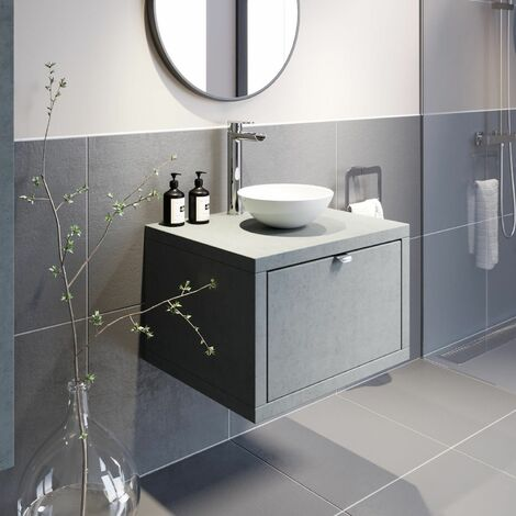 "main image of ""Bathroom Wall Hung Vanity Unit Sink Cabinet Wash Basin Sink Storage Drawer 600mm"""