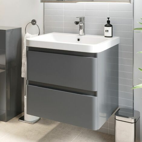 Bathroom Wall Hung Vanity Unit Wash 600 Basin Base Cabinet Drawers Storage Grey