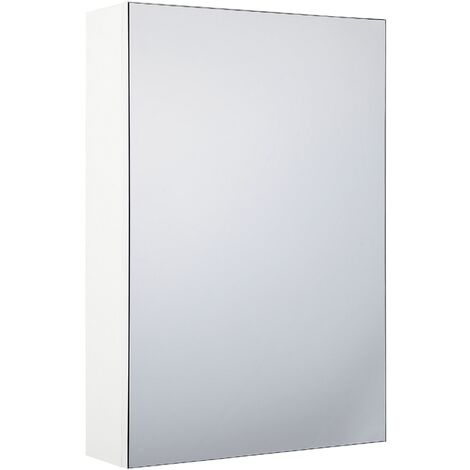 Bathroom Wall Mounted Mirror Cabinet White 40 x 60 cm PRIMAVERA