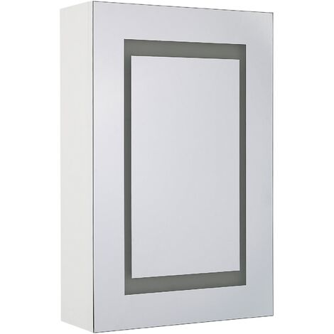 Bathroom Wall Mounted Mirror Cabinet with LED White 40 x 60 cm MALASPINA