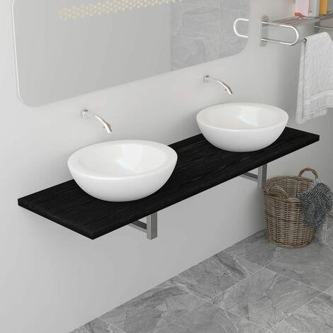 Bathroom Wall Shelf for Basin Black 160x40x16.3 cm