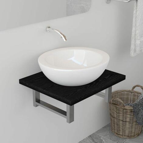 Bathroom Wall Shelf for Basin Black 40x40x16.3 cm - Black