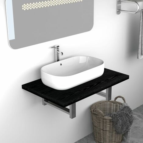 Bathroom Wall Shelf for Basin Black 60x40x16.3 cm - Black