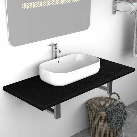 Bathroom Wall Shelf for Basin Black 90x40x16.3 cm
