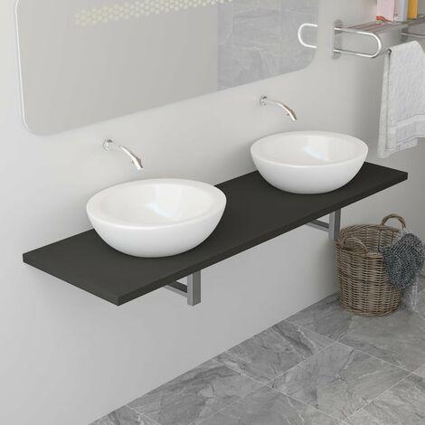 Bathroom Wall Shelf for Basin Grey 160x40x16.3 cm