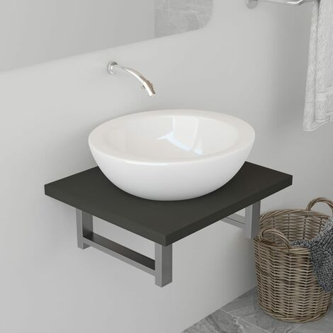 Bathroom Wall Shelf for Basin Grey 40x40x16.3 cm
